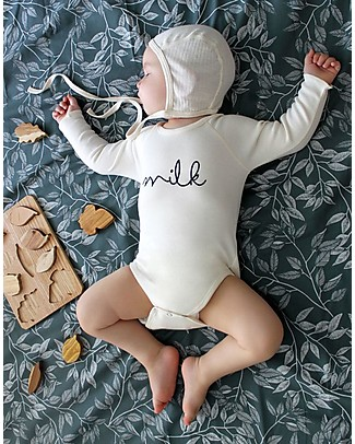 Organic Zoo Milk Bodysuit, Natural - Organic Cotton and Quality! Long Sleeves Bodies