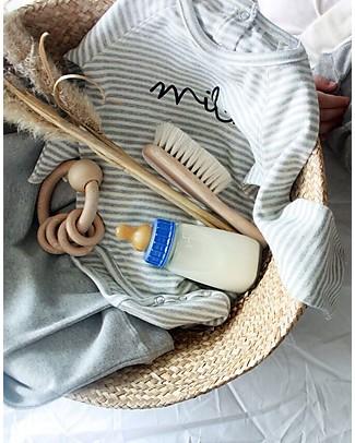 Organic Zoo Stripy Milk Bodysuit, Grey - Organic Cotton and Quality! Long Sleeves Bodies