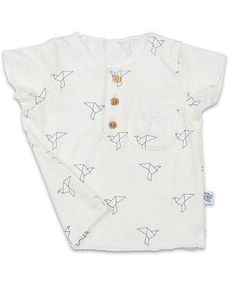 Origami Boy T-shirt with Pocket and Wooden Buttons - Milk fiber and organic cotton T-Shirts And Vests
