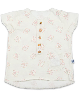 Origami Girl T-shirt with Pocket and Wooden Buttons - Milk fiber and organic cotton T-Shirts And Vests