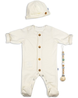 Origami Newborn Kit Onesie, Hat, Pacifier Clip, Green - Organic cotton and milk fiber Gift Set