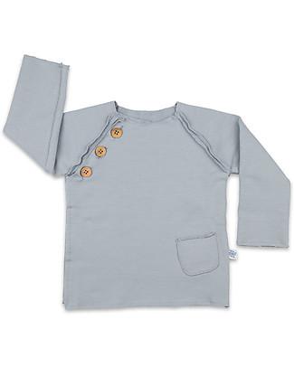 Origami Raglan Sleeves Sweatshirt with Buttons, Grey - Milk fiber and organic cotton Sweatshirts