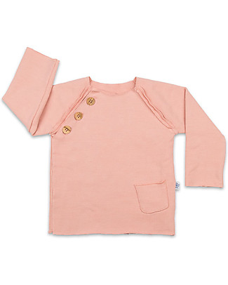 Origami Raglan Sleeves Sweatshirt with Buttons, Pink - Milk fiber and organic cotton Sweatshirts