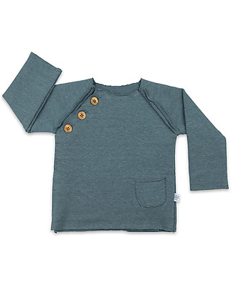 Origami Raglan Sleeves Sweatshirts with Buttons, Blue - Milk fiber and organic cotton Sweatshirts