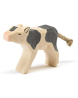 Ostheimer Calf Black&White Drinking, Hand-crafted, Sustainable Wood - 6.5 cm (H) Wooden Blocks & Construction Sets