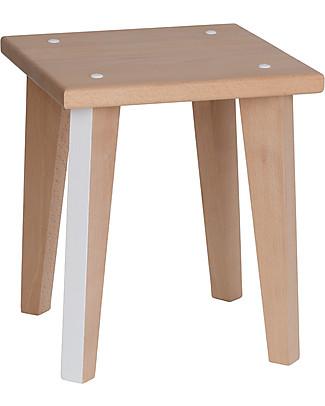 Paulette & Sacha Children Stool Point-Virgule, White - Solid beech wood  Chairs