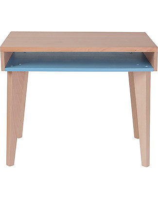Paulette & Sacha Children Desk Trait d'Union, Blue - Solid beech wood  Tables And Chairs