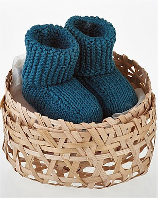 Pebble Baby Shoe - Petrol Blue, 6-12 Months - 100% Organic Cotton  Slippers