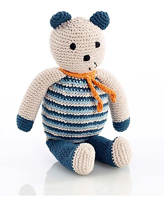 Pebble Bear, Petrol Blue - Fair Trade & Organic - 10 cm tall Crochet Soft Toys
