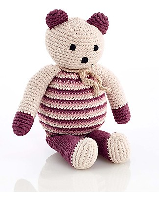 Pebble Bear, Soft Purple - Fair Trade & Organic - 10 cm tall Crochet Soft Toys