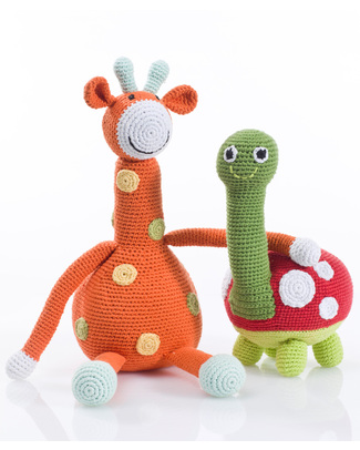 Pebble Big Friends Crocheted Turtle - Fair Trade - 28 cm long Crochet Soft Toys