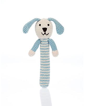 Pebble Blue Bunny Stick Rattle - Fair Trade Organic Cotton Rattles