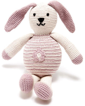 Pebble Bunny with Flower Pink - Fair Trade & Organic - 20 cm tall Crochet Soft Toys