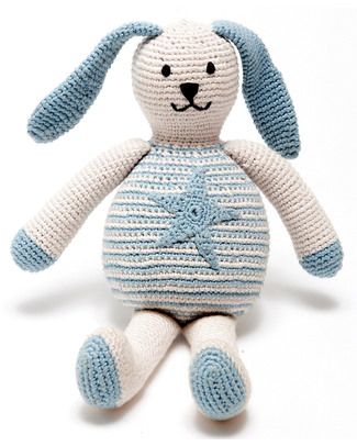 Pebble Bunny with Star Blue - Fair Trade & Organic - 20 cm tall Crochet Soft Toys