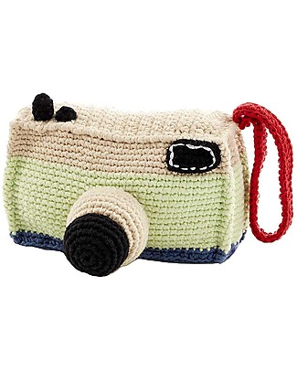 Pebble Camera Rattle 12 cm - Pure organic cotton Soft Toys