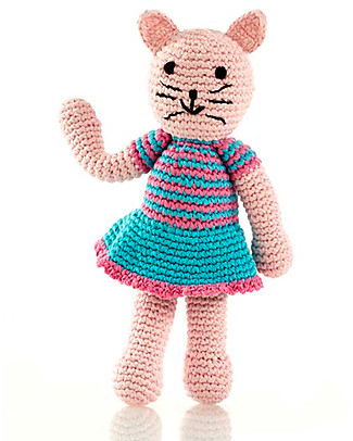 Pebble Cat Girl Rattle - Fairtrade, 24 cm tall Rattles