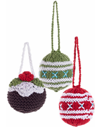 Pebble Christmas Crocheted Baubles Set of 3 - Fair Trade Christmas Decorations