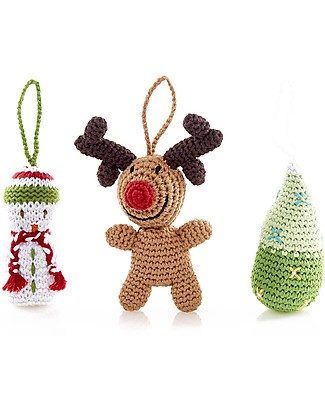Pebble Christmas Crocheted Decorations Set of 3: Rudolph, Snowman & Tree Christmas Decorations
