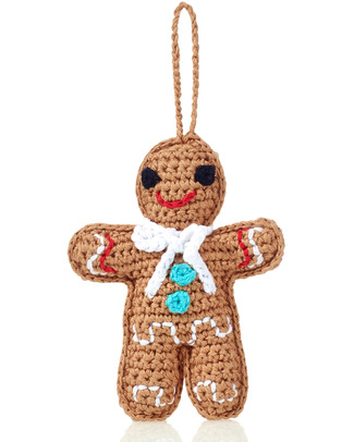 Pebble Christmas Crocheted Gingerman Decoration - Fair Trade Christmas Decorations