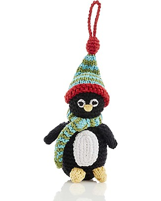 Pebble Christmas Crocheted Pinguino Decoration, 12 cm - Fair Trade Christmas Decorations