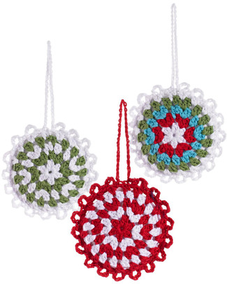 Pebble Christmas Crocheted Snowflakes Baubles Set of 3 - Fair Trade Christmas Decorations