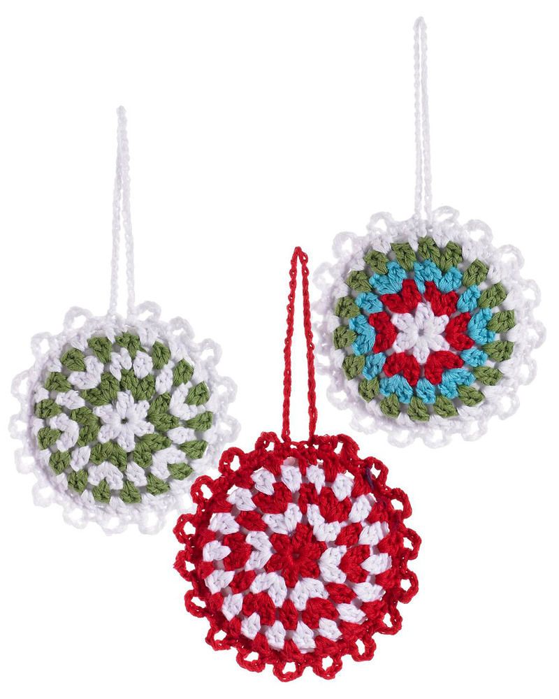 Pebble Christmas Crocheted Snowflakes Baubles Set of 3 - Fair Trade ...