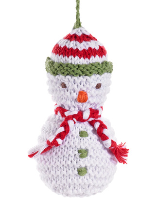 Pebble Christmas Crocheted Snowman Decoration - Fair Trade Christmas Decorations