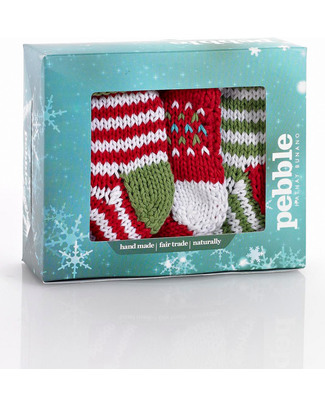 Pebble Crocheted Baubles Set of 3 - Mini Christmas Stockings - Fair Trade Christmas Decorations