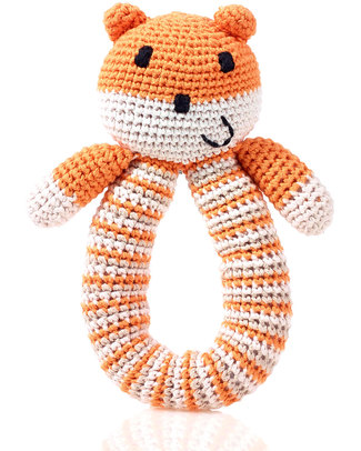 Pebble Crocheted Bear Rattle - Orange - Organic Cotton Rattles