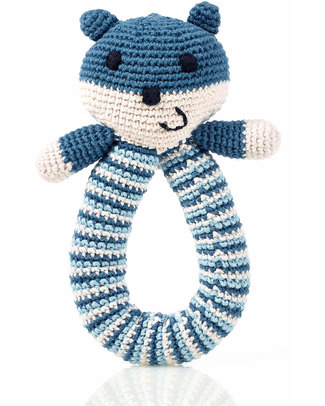 Pebble Crocheted Bear Rattle - Petrol Blue - Organic Cotton Rattles