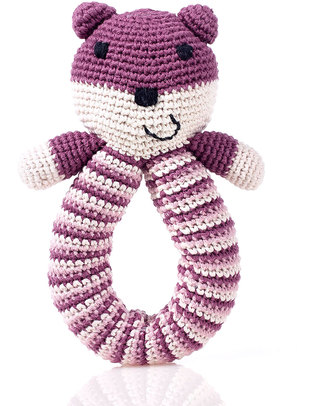 Pebble Crocheted Bear Rattle - Purple - Organic Cotton Rattles