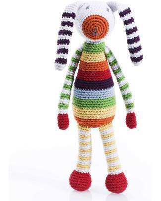 Pebble Crocheted Bunny Rattle - Rainbow Multicolours null
