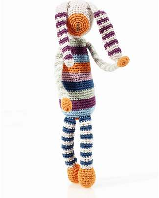 Pebble Crocheted Bunny Toy Multicoloured Stripes - Organic Cotton - 30cm Rattles