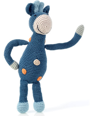 Pebble Crocheted Giraffe Organic Cotton - Denim Blue - Fair Trade Crochet Soft Toys