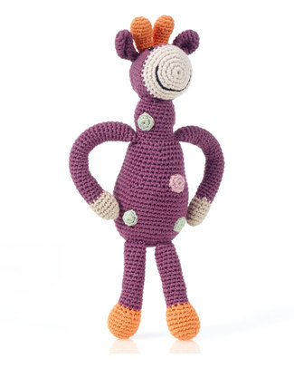 Pebble Crocheted Giraffe Organic Cotton - Violet - Fair Trade Crochet Soft Toys