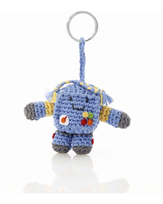 Pebble Crocheted Keyring - Robot Key Rings