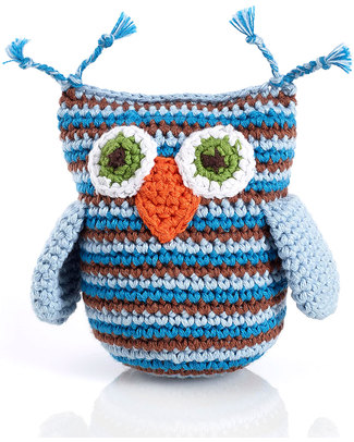Pebble Crocheted Owl Rattle - Blue Stripes Rattles