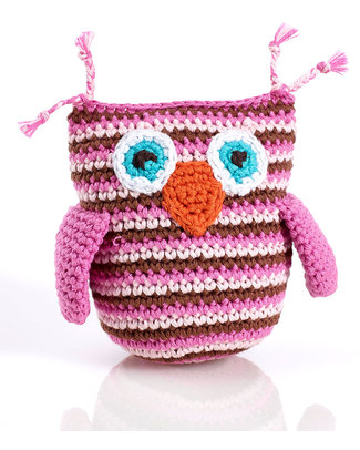 Pebble Crocheted Owl Rattle - Pink Stripes Rattles