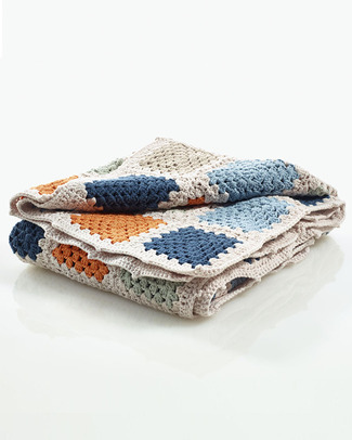 Pebble Crocheted Patchwork Baby Blanket Petrol Blue - 85 x 95 cm Blankets