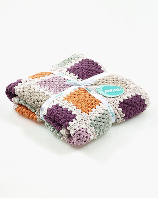 Pebble Crocheted Patchwork Baby Blanket Purple - Organic Cotton - 85 x 95 cm Blankets