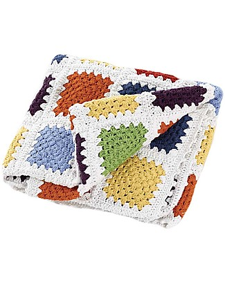 Pebble Crocheted Patchwork Baby Blanket - Rainbow - 85x95 cm - Fair Trade, Organic Cotton Blankets