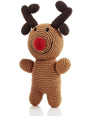 Pebble Crocheted Reindeer Rudolph Rattle, 18 cm - Fair Trade Rattles