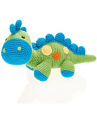 Pebble Dinosaur Rattle - Apple - Fair Trade - Organic Cotton Rattles