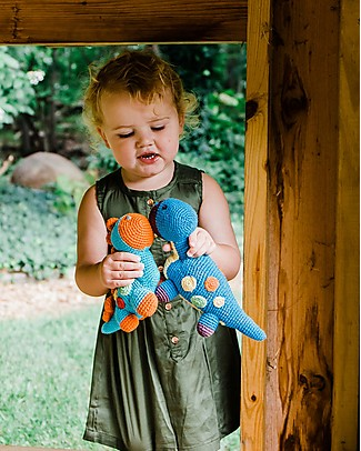 Pebble Dinosaur Rattle, Blue Dippi - Fair Trade  Rattles