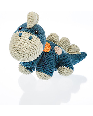 Pebble Dinosaur Rattle - Petrol Blue - Fair Trade - Organic Cotton Rattles