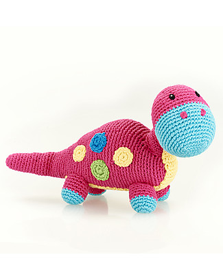 Pebble Dinosaur Rattle, Pink Dippi - Fair Trade  Rattles