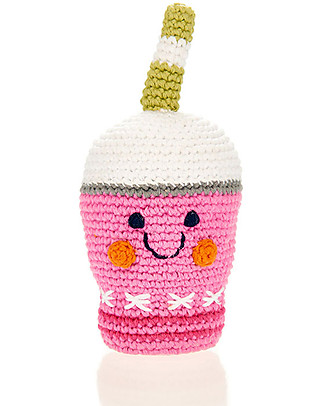 Pebble Friendly Frappe Rattle, Strawberry - Pure cotton, fairtrade Rattles