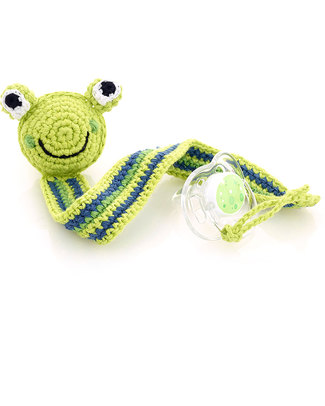 Pebble Frog Green Crocheted Pacifier Clip - Fair Trade Dummies & Soothers