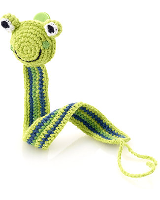 Pebble Frog Green Crocheted Pacifier Clip - Fair Trade null