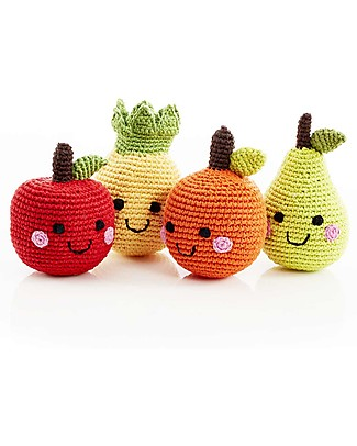 Pebble Fruit Rattle, Apple 12 cm - Pure organic cotton Rattles
